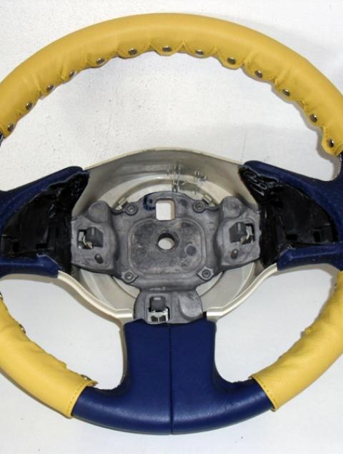 Couvre volant kit 3 pièces nouvelle Fiat 500 en cuir jaune + clip